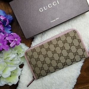 NWT Gucci Wallet GG Monogram Canvas Pink Leather